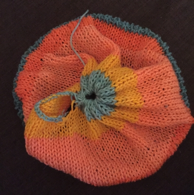 Hat with knit hole